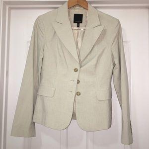 Limited Beige Pin Striped Blazer Jacket Size 8